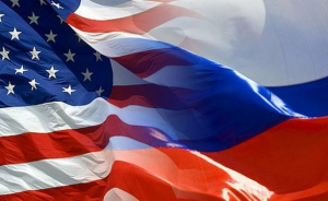 Russian and American flag